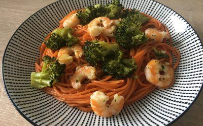 Spaghettis petites crevettes et brocoli