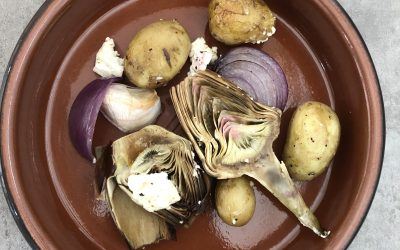 Artichaut, petits légumes à la feta rôtis au four